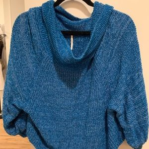 Free People Sweaters - Free People blue wide cowl neck sweater Small!